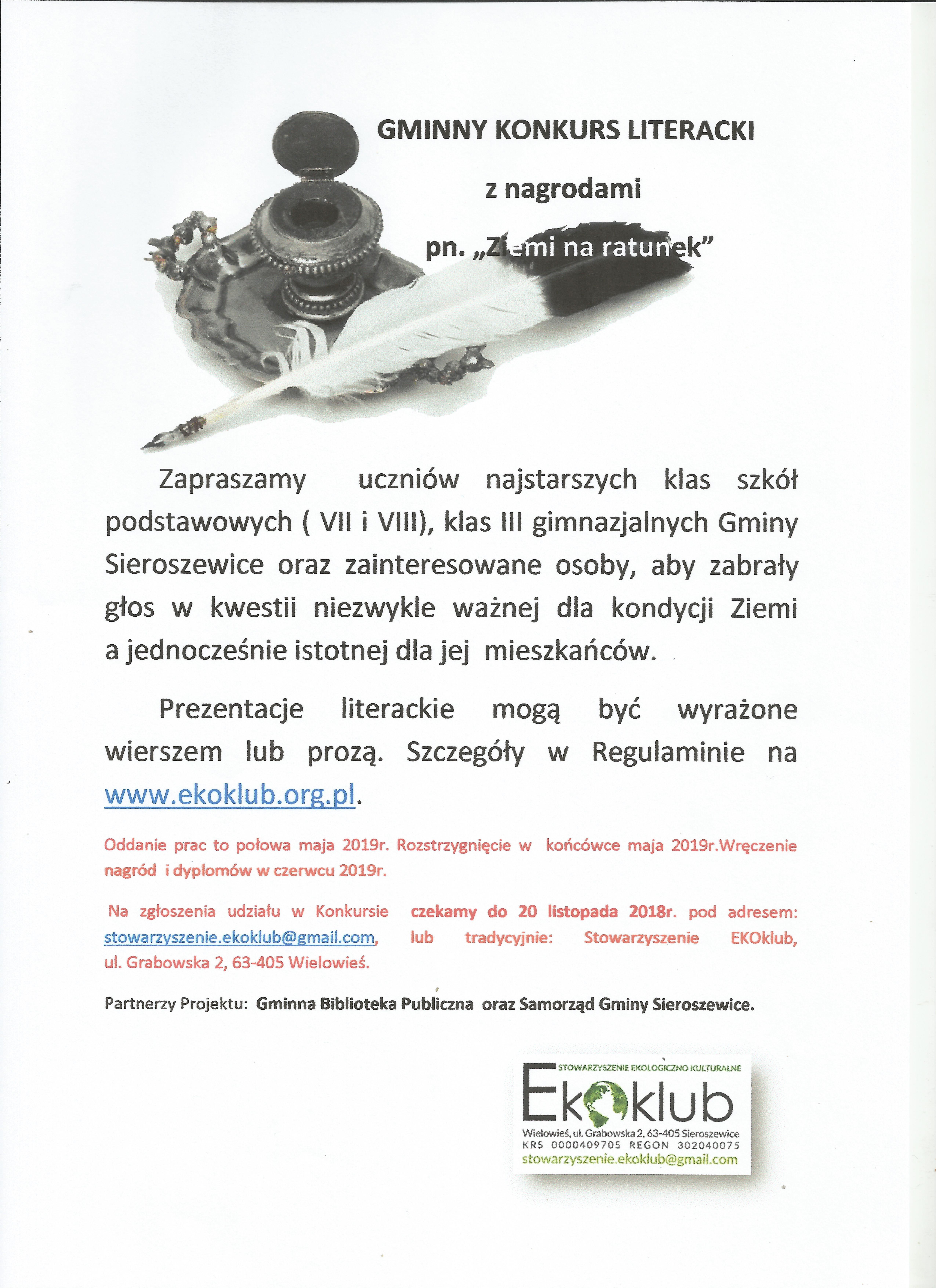"""Gminny Konkurs literacki pn. """"Ziemi na Ratunek"""" z nagrodami"""