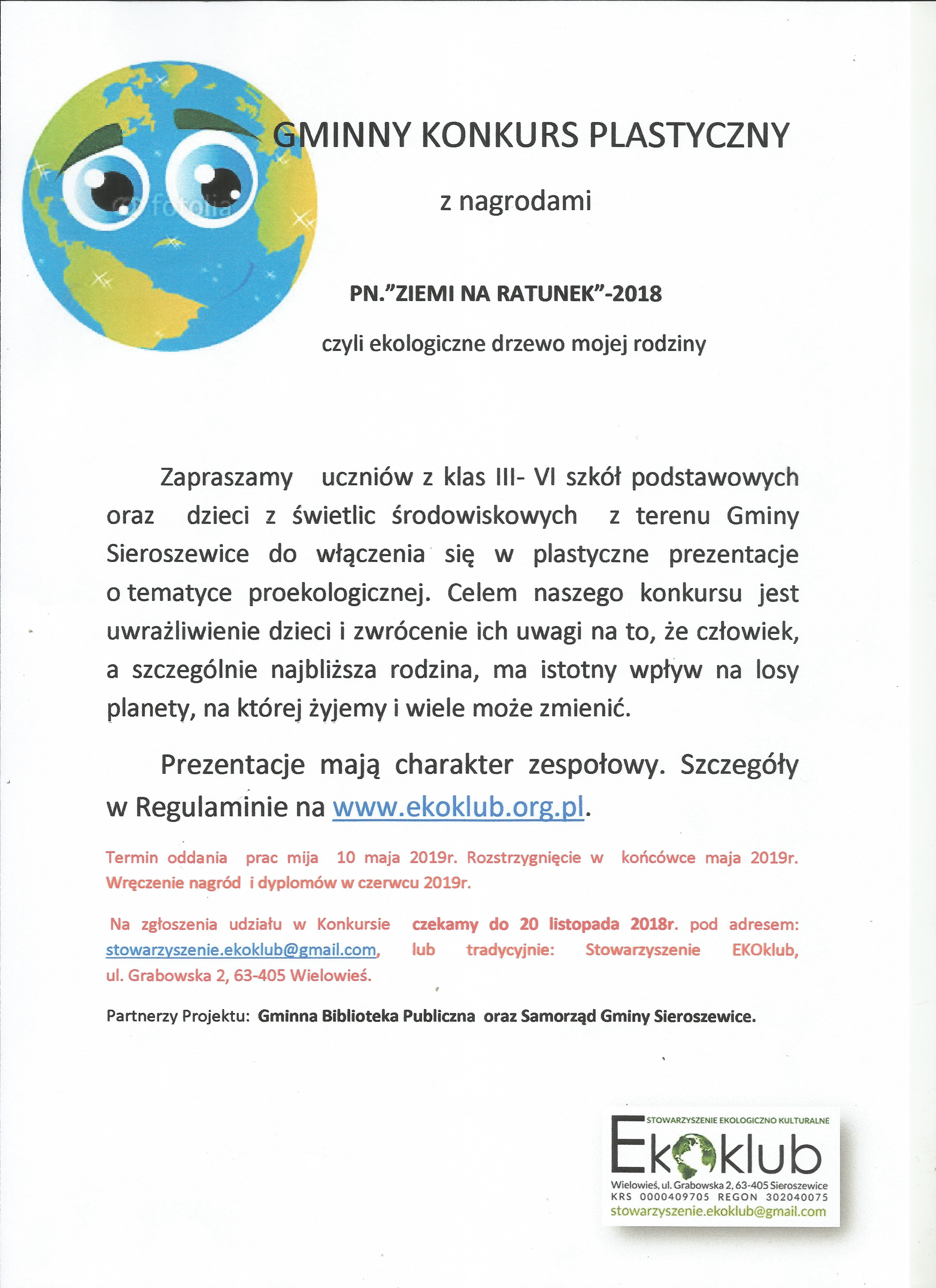 """Gminny Konskurs Plastyczny  pn. """"Ziemi na ratunek"""" – z ngrodami"""